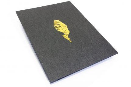 A3 Prt Hh Dark Grey Leaf Gold Deboss