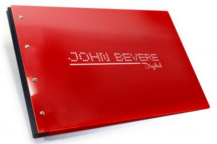 Laser Etching on Red Acrylic Portfolio with Black Binding Hinge