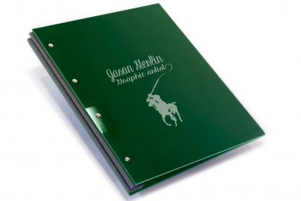 Laser Etching on Dark Green Acrylic Portfolio with Dark Grey Binding Hinge