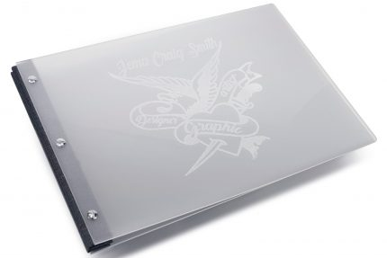 Laser Etching on Frosted Clear Acrylic Portfolio with Dark Grey Binding Hinge