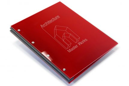 Laser Etching on Red Acrylic Portfolio with Dark Grey Binding Hinge