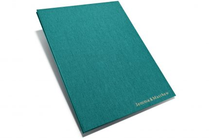 Gold Foil Letterpress on Aqua Cloth Portfolio
