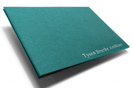 Silver Foil Letterpress on Aqua Cloth Portfolio