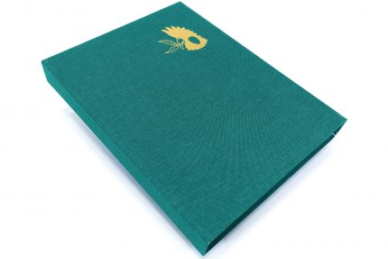 Gold Foil Debossing on Aqua Cloth Presentation Box