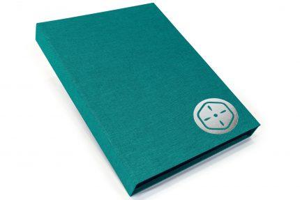 Silver Foil Debossing on Aqua Cloth Presentation Box