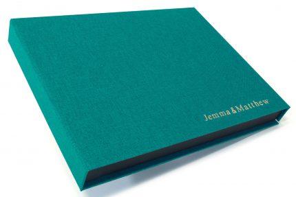 Gold Foil Letterpress on Aqua Cloth Presentation Box