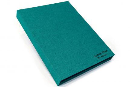 Black Foil Letterpress on Aqua Cloth Presentation Box