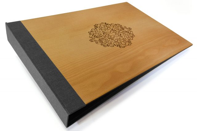 Laser Etching on Timber Binder with Dark Grey Back Cover