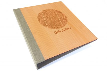 Laser Etching on Timber Binder with Light Grey Back Cover