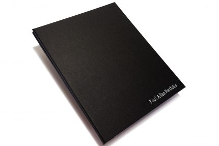 Silver Foil Letterpress on Black Cloth Portfolio