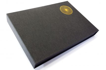 Gold Foil Debossing on Dark Grey Cloth Presentation Box
