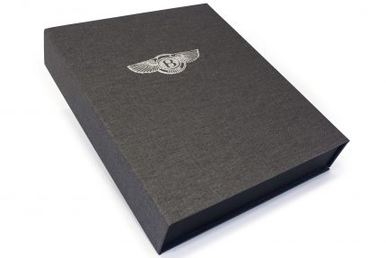 Silver Foil Debossing on Dark Grey Cloth Presentation Box