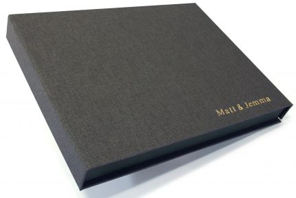 Gold Foil Letterpress on Dark Grey Cloth Presentation Box