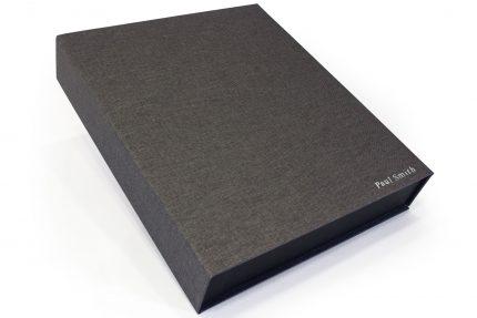 Silver Foil Letterpress on Dark Grey Cloth Presentation Box