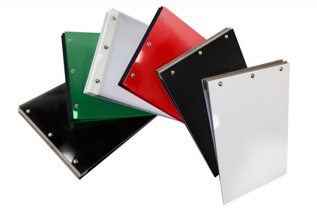 Acrylic Portfolios Available in Gloss Black - Dark Green - Frosted Clear - Red - Matt Black - White
