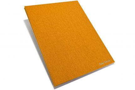 Silver Foil Letterpress on Golden Tan Cloth Portfolio