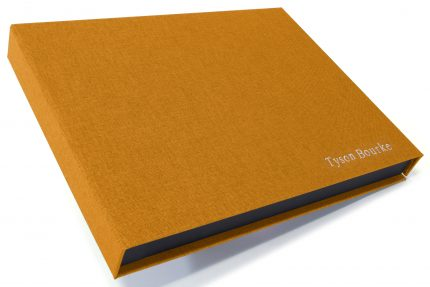 Silver Foil Letterpress on Golden Tan Cloth Presentation Box