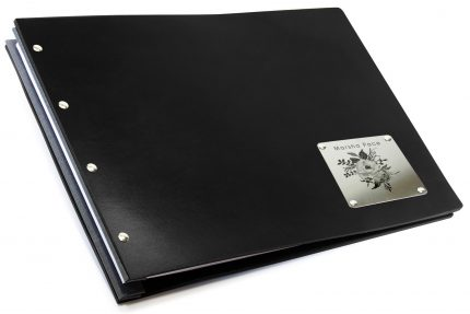 Laser Etching on Stainless Steel Plaque on Black Leather Portfolio with Dark Grey Binding Hinge