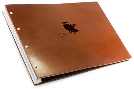 Blind Debossing on Dark Tan Leather Portfolio with White Binding Hinge