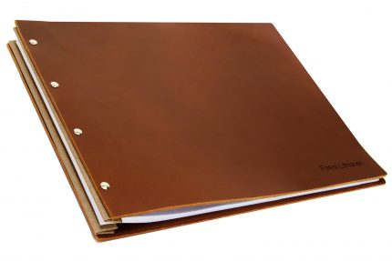 Letterpress on Dark Tan Leather Portfolio with Light Brown Binding Hinge