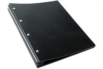 Black Leather Portfolio with Dark Grey Binding Hinge