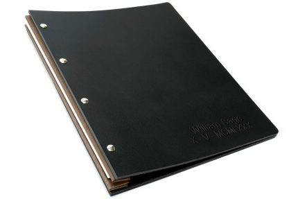 Letterpress on Black Leather Portfolio with Light Brown Binding Hinge