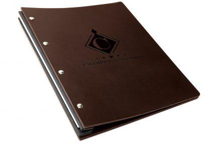 Blind Debossing on Chocolate Leather Portfolio with Dark Grey Binding Hinge