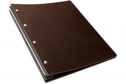 Chocolate Leather Portfolio with Dark Grey Binding Hinge