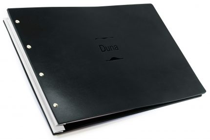 Blind Debossing on Black Leather Portfolio with White Binding Hinge