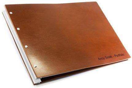 Letterpress on Dark Tan Leather Portfolio with White Binding Hinge