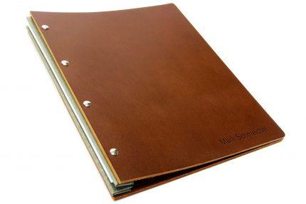 Letterpress on Dark Tan Leather Portfolio with Light Grey Binding Hinge