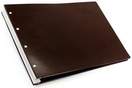 Chocolate Leather Portfolio with White Binding Hinge