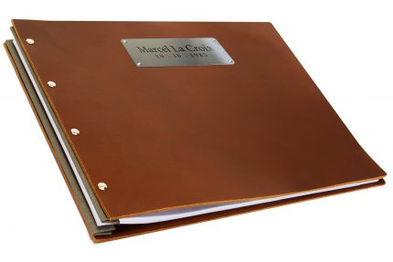 Laser Etching on Stainless Steel Plaque on Dark Tan Leather Portfolio with Light Grey Binding Hinge