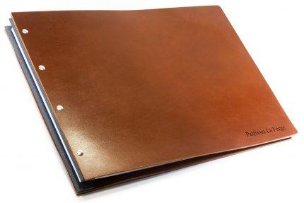 Letterpress on Dark Tan Leather Portfolio with Dark Grey Binding Hinge