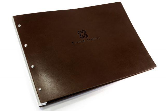 Blind Debossing on Chocolate Leather Portfolio