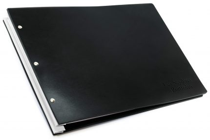 Letterpress on Black Leather Portfolio with White Binding Hinge