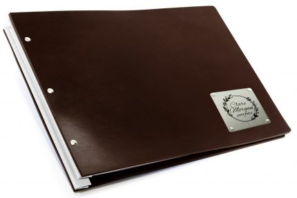 Laser Etching on Stainless Steel Plaque on Chocolate Leather Portfolio with White Binding Hinge