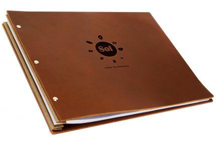 Blind Debossing on Dark Tan Leather Portfolio with Light Brown Binding Hinge