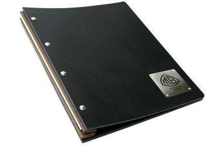Laser Etching on Stainless Steel Plaque on Black Leather Portfolio with Light Brown Binding Hinge