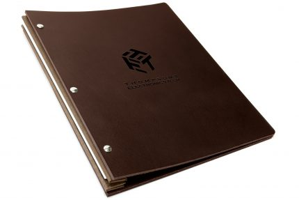 Blind Debossing on Chocolate Leather Portfolio with Light Brown Binding Hinge