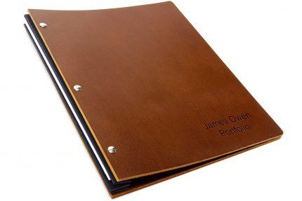 Letterpress on Dark Tan Leather Portfolio with Black Binding Hinge