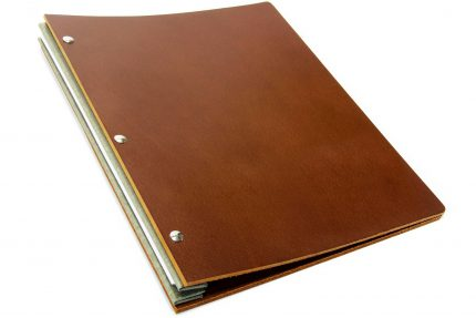 Dark Tan Leather Portfolio with Light Grey Binding Hinge