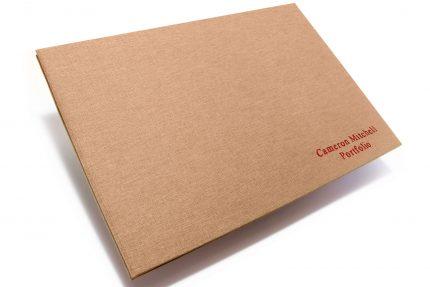 Red Foil Letterpress on Light Brown Cloth Portfolio