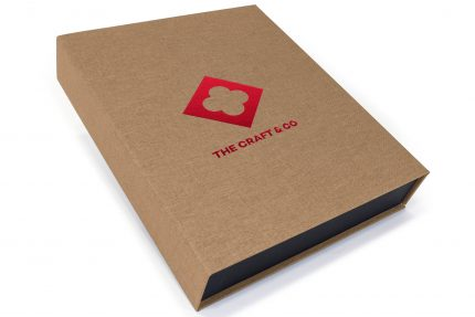 Red Foil Debossing on Light Brown Cloth Presentation Box