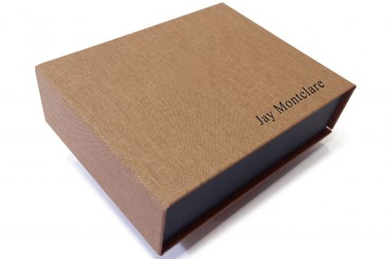 Black Foil Letterpress on Light Brown Cloth Presentation Box