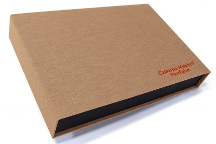 Red Foil Letterpress on Light Brown Cloth Presentation Box