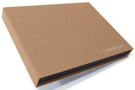 Silver Foil Letterpress on Light Brown Cloth Presentation Box