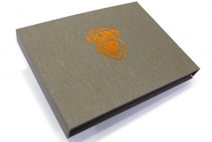 Bronze Foil Debossing on Light Grey Cloth Presentation Box