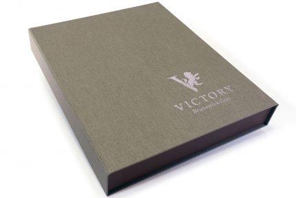 Silver Foil Debossing on Light Grey Cloth Presentation Box