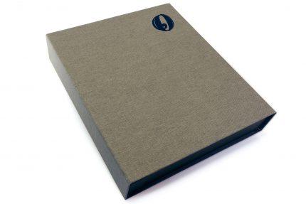 Black Foil Debossing on Light Grey Cloth Presentation Box